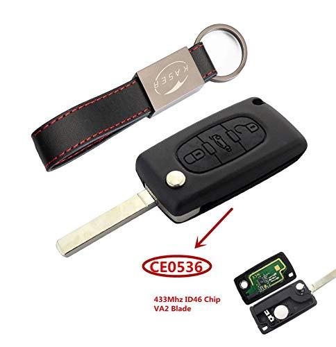 Llave para Peugeot y Citroen con Tarjeta Electrónica – 3 Botones para Peugeot 307 207 Citroen C1 C2 C3 (433MHz ID46 PCF7961 Chip) Transponder Mando a Distancia Coche (CE0536)