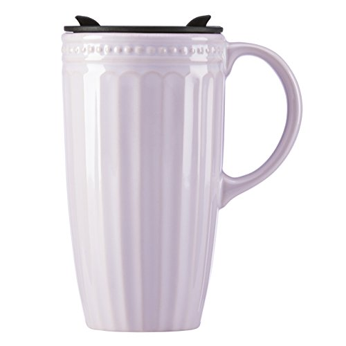 Lenox French Perle Groove Travel Mug with Handle, Lilac