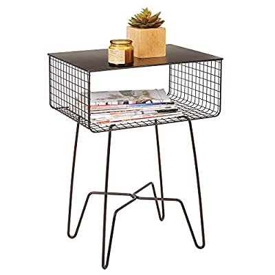 mDesign Modern Farmhouse Side/End Table - Solid Metal Design, Open Storage Shelf Basket, Hairpin Legs - Sturdy Vintage, Rustic, Industrial Home Decor Accent Furniture for Living Room, Bedroom - Bronze