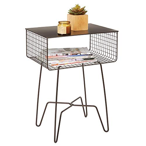 mDesign Accent Table — Living Room Coffee Table with Hairpin Legs and Storage Shelf — Rustic Side Table for the Home — Bronze