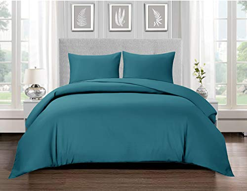 Renoazul Duvet Cover 100% Egyptian Cotton King Size Bedding Sets, Soft Hypoallergenic Quilt Bedding Comforter Covers With Button Closure, 2 Pillow Shams - Teal 230 X 220 cm