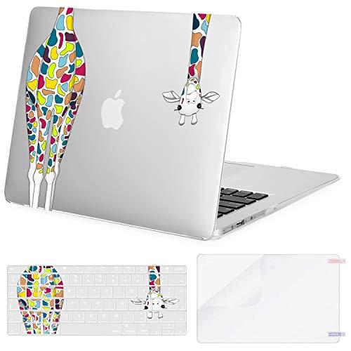 MOSISO Funda Dura Compatible con 2010-2017 MacBook Air 13 Pulgadas A1369 A1466,Carcasa de Plástico Rígido de Jirafa & Cubierta de Teclado & Protector de Pantalla, Transparente