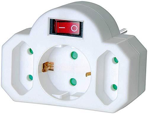 Brennenstuhl Mehrfachsteckdose, Steckdosenadapter 3-fach mit Schalter (Zwischenstecker bestehend aus 2 x Eurosteckdose & 1 x Schutzkontakt) weiß