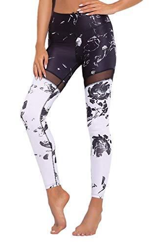 Mieuid Dames yoga leggings Vrouwen net splitst gedrukt garen chic patroon Stretch Skinny joggingbroek hoge taille
