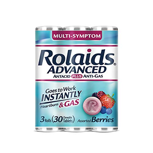 Rolaids Advanced Antacid Plus Anti-Gas 30 Chewable Tablets, Assorted Berry, Heartburn and Gas Relief