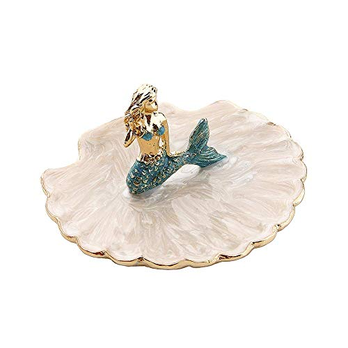 Jewelry Tray Ring Display Holder Mermaid Trinket Dish Home Decorative Plate For Earrings Necklace Bracelet Organizer Display (Blue)
