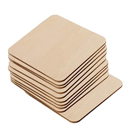 Hecho a mano DIY registro madera chip decoración madera etiqueta cuadrados piezas recortes para manualidades pintura Scrabble azulejos posavasos pirografía decoraciones
