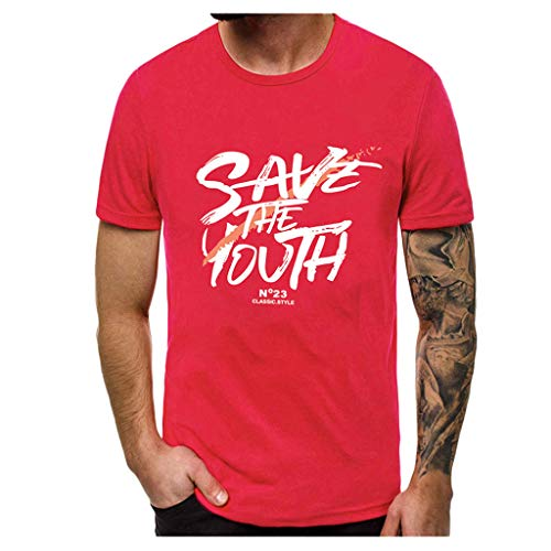 Yowablo T-Shirt à Manches Courtes Homme Top Blouse Tees Fashion Printing (M,3 Rouge)