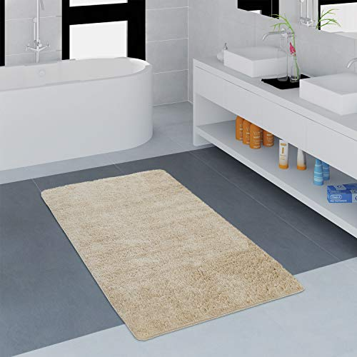 Paco Home Moderner Badezimmer Teppich Einfarbig Microfaser Kuschelig Gemütlich In Beige, Grösse:80x150 cm