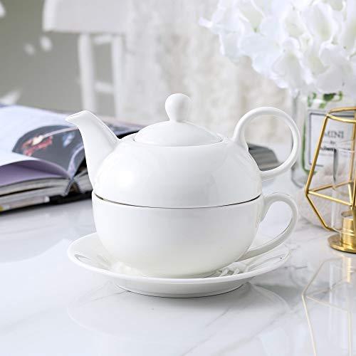 MALACASA, Serie Sweet.Time, Juego de Té Individuales para Uno, 4 Piezas, Porcelana China, con 1 Juego de Tetera de 17 cm 320 ML (con la Tapa), 1 Taza de 250 ML y 1 Platillo de 15 cm