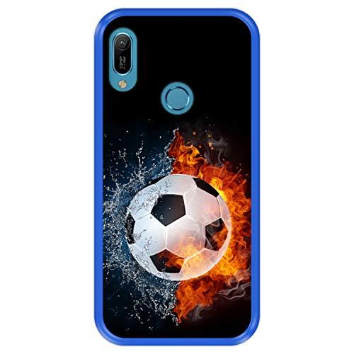 Custodia per [ Huawei Y6 2021 - Y6 Prime 2021 - Y6 PRO 2021 - Honor 8A PRO ] Disegni [ Fuoco e Acqua, Pallone da Calcio ] Cover Guscio in Silicone Flessibile Blu TPU