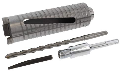 PRODIAMANT Diamant-Trockenbohrkrone Matrix Durchmesser 52mm Länge 150mm mit Adapter SDS und Zentrierbohrer zum trocken- und nass- bohren in Beton Kalksandstein und Mauerwerk