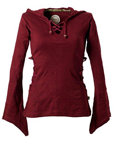 Vishes – Alternative Bekleidung – Elfenshirt mit Zipfelkapuze und Bändern zum Schnüren dunkelrot 42