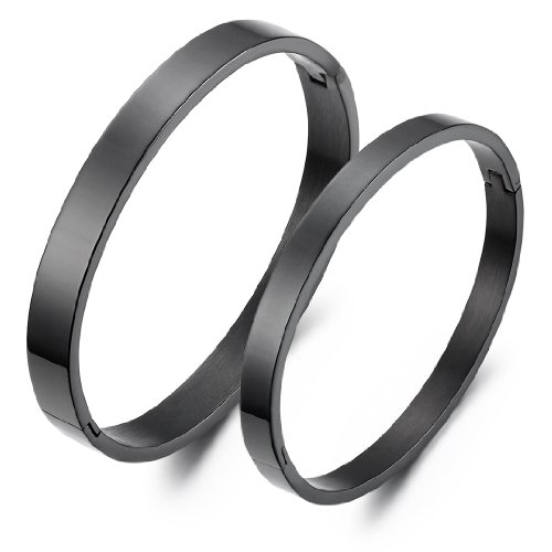 JewelryWe His & Hers Matching Set Couple Lovers Black IP Stainless Steel Bracelets Bangles (One Pair)
