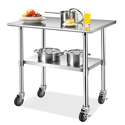 COSTWAY Arbeitstisch Edelstahl, Edelstahltisch mit Höhenverstellbarer Ablage, Küchentisch mit 4 Universalräder (91,5 x 61 x 88,5 cm)