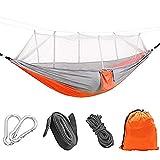 Tresbro Portable Parachute Nylon Fabric Travel Camping Hammock with Mosquito Net and Tree
