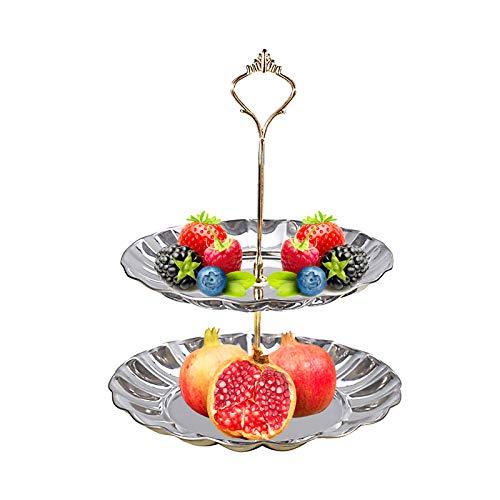 Elinala Alzatine per Dolci, Alzata per Torta Rastrelliera per Snack in Acciaio Inossidabile Argento Rotondo Multifunzionale Staccabile per tè Pomeridiano, Torte in Tazza, Frutta, Caramelle(2 Livelli)