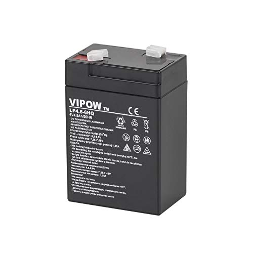 VIPOW 6V 4,5Ah Agm Gel Battery Sealed Maintenance Free Rechargeable Deep...