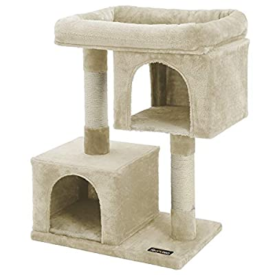 FEANDREA Cat Tree for Large Cats, Cat Tower 2 Cozy Plush Condos and Sisal Posts UPCT61M