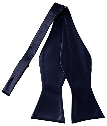 Helido Helido Fliege für Herren zum selber-binden, 100% Seide, schwarze, bordeaux-rote u. dunkelblaue Schleifen passend zu Hemd und Anzug oder Smoking + Geschenkbox (Dunkelblau)
