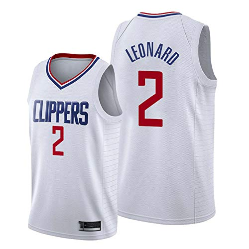 XIAOHAI NBA Basketball Jersey Los Angeles Clippers # 2 Kawhi Leonard Resistente al Desgaste Transpirable Malla Bordada Baloncesto Swingman Jerseys Camiseta Deportiva Jerseys,Blanco,M