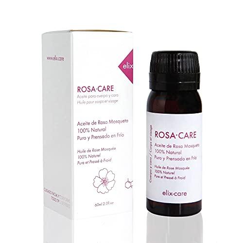 ROSA·CARE de elix·care - Aceite 100% Puro Rosa Mosqueta - Repara Profundamente Cicatrices, Quemaduras y Estrías - Aceite prensado en frio - Rosa de mosqueta 100% natural