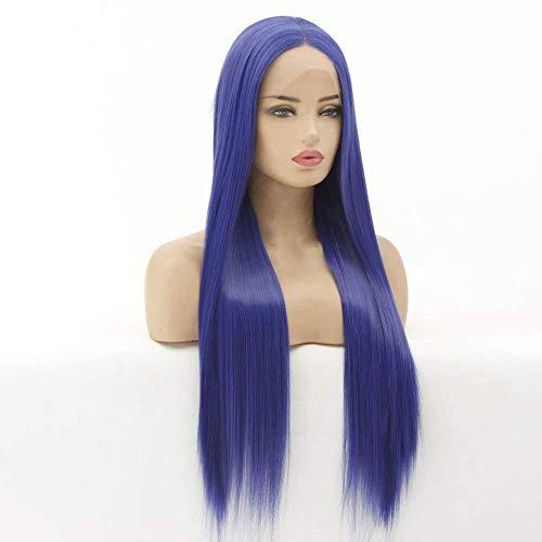 LDSBGJ Best verkopende pruik dames chemische vezel front kanten kap hoge temperatuur zijde blauw lang steil haar