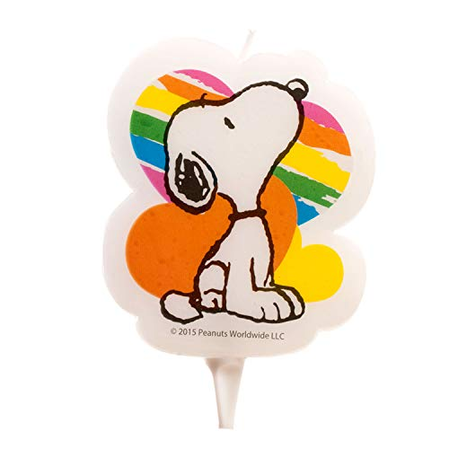 Dekora 346129 Snoopy 2D Birthday Candle, 7.5 cm, Wax, Multicoloured, 8x8x12 cm