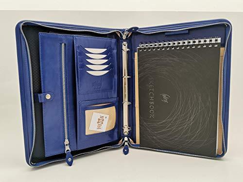 Cartella in pelle italiana cerniera Business presentazione conferenza A4cartella portadocumenti, raccoglitore ad anelli Brown