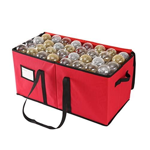 Large Christmas Ornament Storage Box with Dual Zipper Closure - Box Contributes Slots for 128 Holiday Ornaments 3-Inch