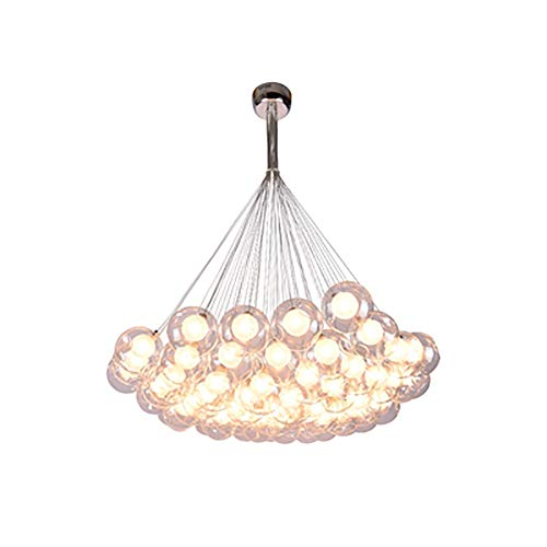 G4 Lámparas,Vidrio Bubble Ball Durante La Lámpara Niños's Habitación Dormitorio Luz Colgante Molecular Magic Bean Iluminación De Techo Accesorio-Loth o doble acristalamiento transparente 50 cabezas