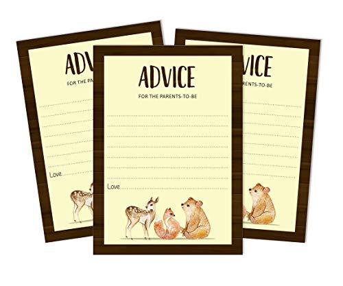 Inkdotpot 50 Fiches Conseils Nouveaux Parents pour Bébé Douche Jeu Animaux De La Jungle Party Supplies Genre Conseils Neutres pour La Nouvelle Maman Et Papa