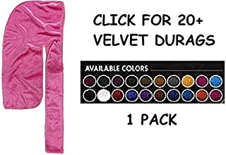 Premium Quality Long Tail Silky Velvet Durag 360/540 / 720 Wave Red Violet Suede Pink