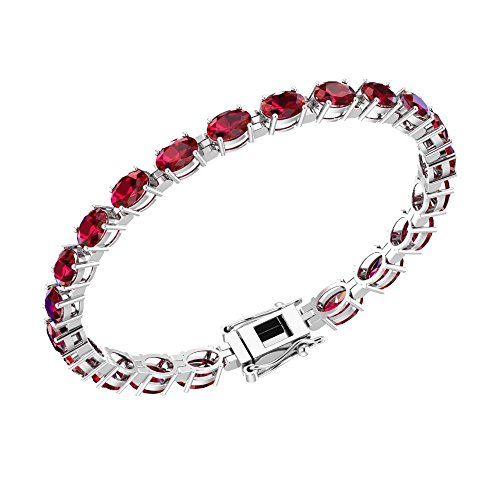 Solid Sterling Silver 6x4mm Oval Cut 11.34 CTW Lab-Grown Ruby Tennis Bracelet for Women, Box Chain with Safety
