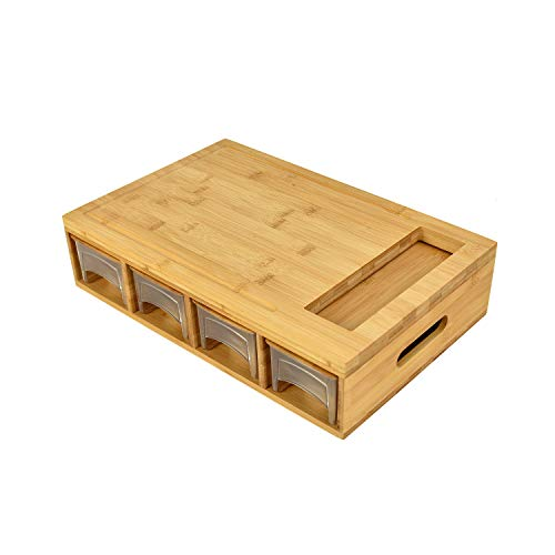 Large Bamboo Cutting Board with Drawers/Trays/Containers/Storage and Lids,Meal Prep Cutting Board,Chopping Board with Tray for Easy Food Prep and Cleanup