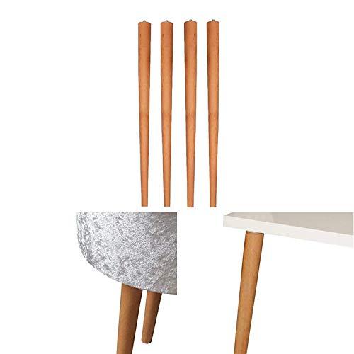 4er Set Holz Tischbeine aus massivem Naturholz - perfekt geeignet für Esstisch, Couchtisch, Schreibtisch & mehr - Verschiedene Größen (Buche mit Teak Lasur, 50 cm)