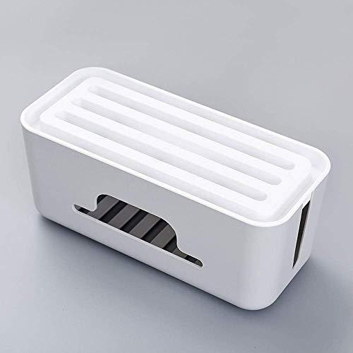 Cable caja ordenada, resistente al polvo, antideslizante con soporte para teléfono inteligente, caja grande para administrar los cables de la pantalla de escritorio, TV o computadora ( Color : Grey )