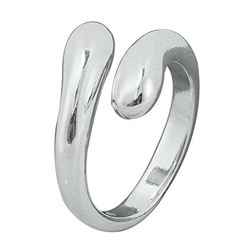 1pcs Mujeres Niñas ajustable bañado en plata apertura doble cabeza redonda de gotas de agua lágrima anillos