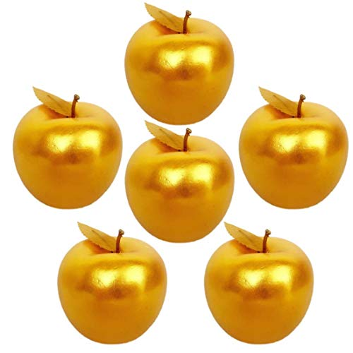 Lorigun 6 Stück Golden Apples Golden Fruit Crafts Home Decoration Weihnachtsdekor