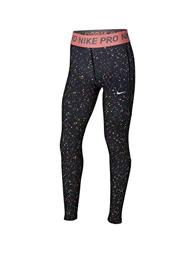NIKE Pro Warm Mallas, Niñas, Black/Black/Pink Gaze, XS