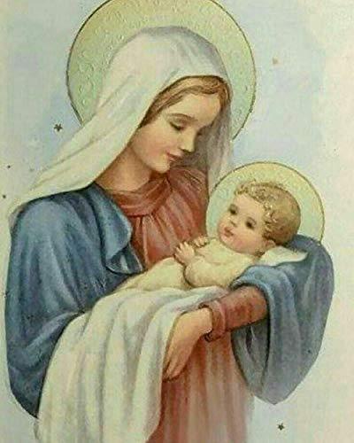 """Famoso pintura católica""""Virgen María y Jesús"""" 5D DIY diamante pintura completa ronda diamante rhinestone pintura decorativa@Los 40x52CM"""