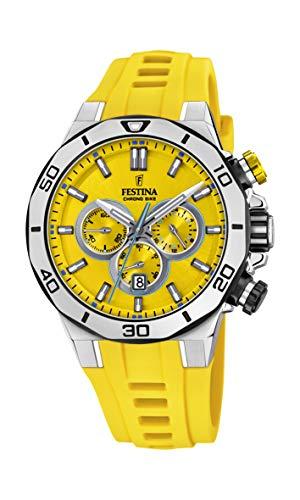 Festina Unisex Erwachsene Chronograph Quarz Uhr mit Silikon Armband F20449/A