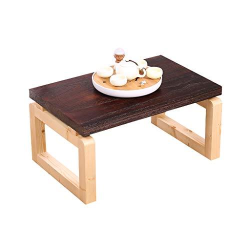 Tables Salon Basse Basse Pliante Basse en Bois Balcon Simple Basse Moderne Tatami Basse Baie Vitrée Basses (Color : Brown, Size : 60 * 40 * 30cm)