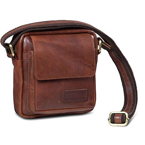 ROYALZ Umhängetasche Klein für Herren Leder Vintage Look Kleine Schultertasche Mini Seitentasche zum Umhängen, Farbe:Roma Cognac Braun