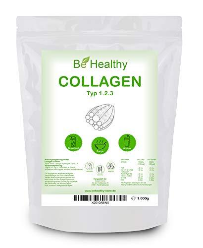 Collagen Pulver 1kg | Typ I, II und III | Kollagen Hydrolysat Peptide | Laborgeprüft - Ohne Zusatzstoffe - 100% Natürlich - Geschmacksneutral | Made in Germany BeHealthy