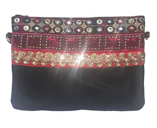 NOVAGO Pochette à Maquillage, Pochette multiusage,Pochette pour Tablette iPad avec bandoulière et décoration Fait Main (Noir/Rouge)