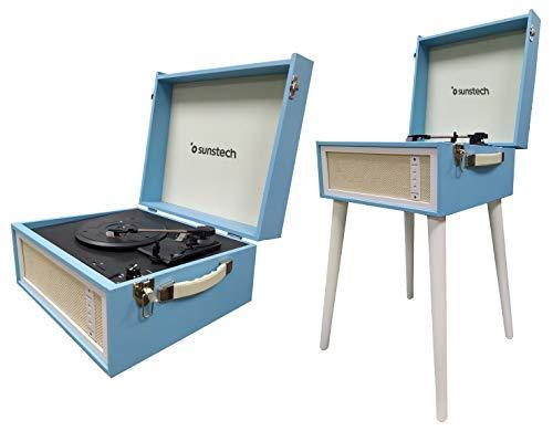 SUNSTECH Funk Plattenspieler aus Holz, 33/45/78 U/min, tragbar, mit abnehmbaren Beinen (43 cm), FM-Radio, 2 Lautsprecher, Konverter Vinyl auf MP3, USB und Kartenleser, Blau