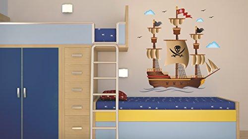 Pegatina de pared – Tatuajes de pared para habitaciones infantiles, salones, habitaciones, habitación del bebé - Decoración mural moderna –Vinilos decorativos para pared 3 x 70x50cm Barco pira