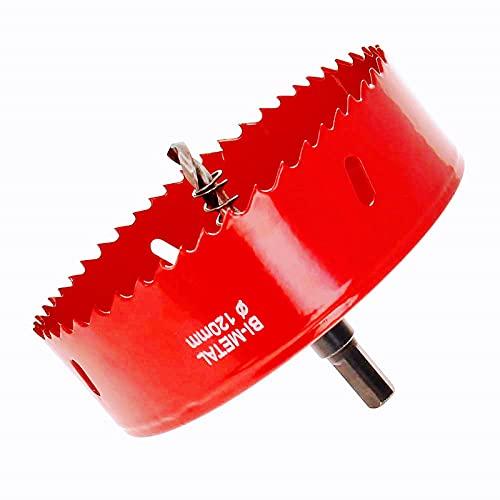 Sierra de corona de 120 mm, acero rápido HSS M42 bimetal, sierra perforadora con vástago hexagonal y broca para madera, construcción en seco y chapa de metal, 1 pieza roja