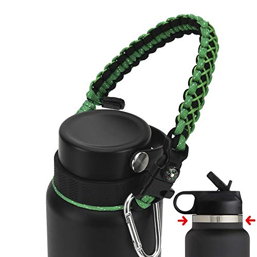 QeeCord Paracord Handle Compatible with Hydro Flask 2.0 Wide Mouth Water Bottle Carrier with New Ring and Carabiner, 12oz, 16oz,18oz, 32oz, 40oz, 64oz